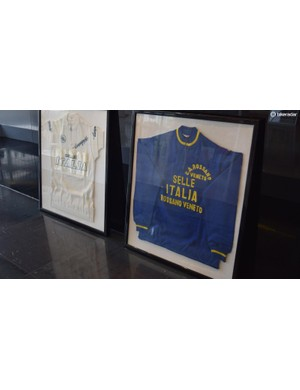 Old team jerseys adorn the Selle Italia offices