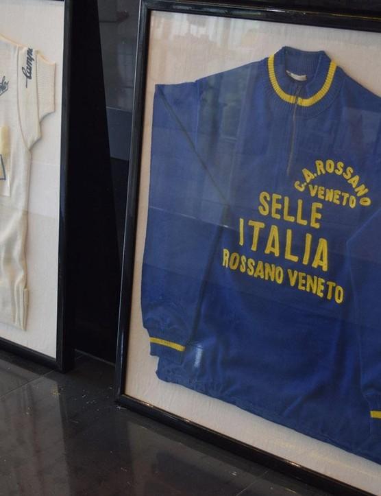 Old team jerseys adorn the Selle Italia offices