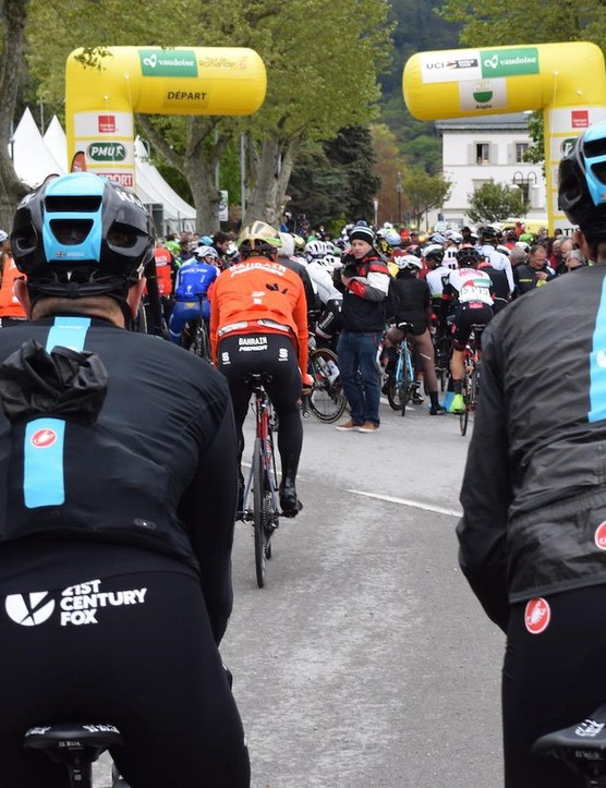 Peter Kennaugh opted to start stage one with the jacket packed away, while Owain Doull began and finished the race wearing the jacket