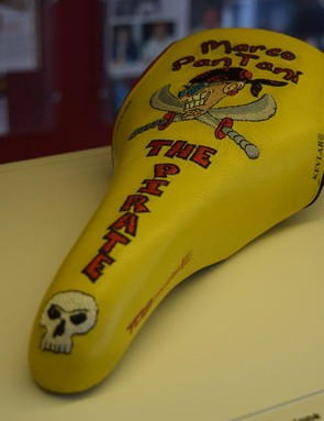 Possibly one of the most famous racing saddles in history: Marco Pantani's The Pirate