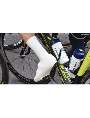 Orica-Scott had lycra overshoes on the wet stages, similar to those produced by VeloToze