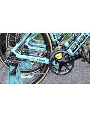 Roglič's Bianchi is equipped with a Shimano Dura-Ace 9150 groupset