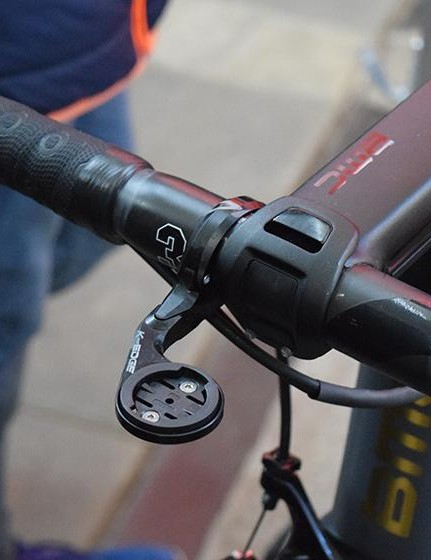 K-Edge provides several of the WorldTour teams with computer mounts, also note Van Avermaet's satellite shifters on the handlebar drops