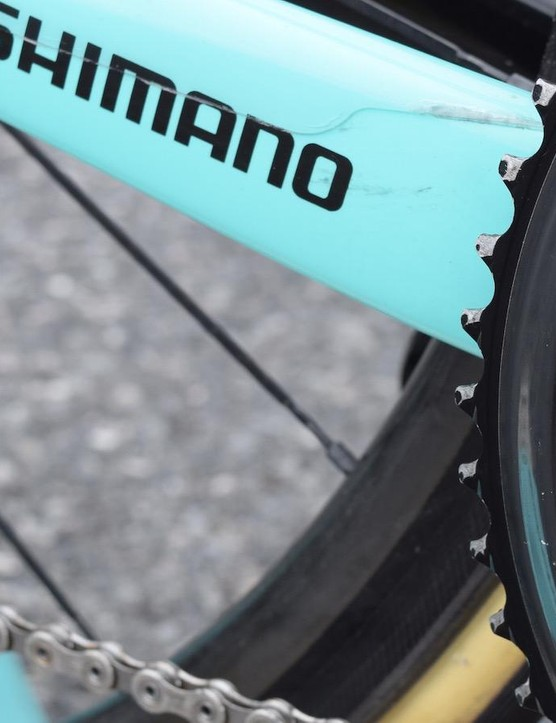 Roglič opts for standard 53/39 chainrings for regular racing, but has used a custom Shimano 58T outer chainring for time trials