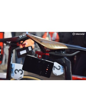 A seat mount from K-Edge holds the race data transmitter