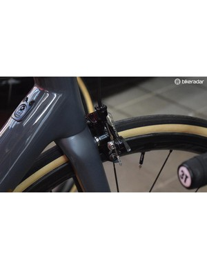 A close look at the direct mount Dura-Ace R9100 front brake