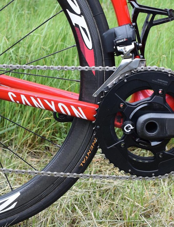 The Canyon's drivetrain is SRAM Red eTap