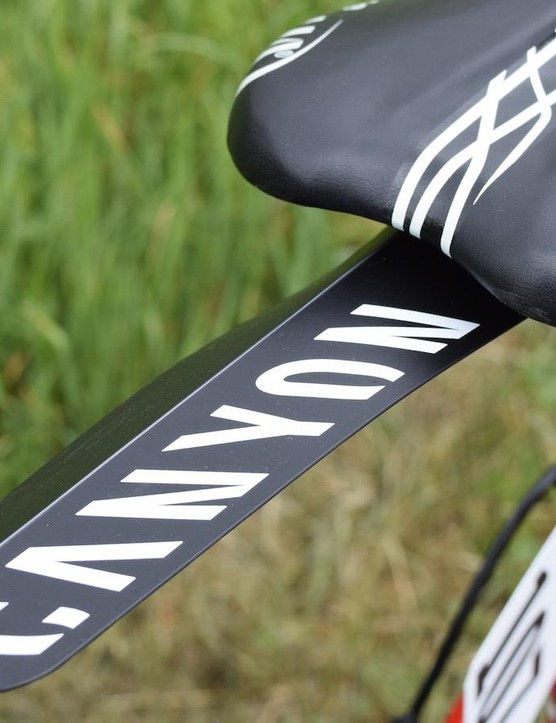 Katusha-Alpecin opted for lightweight, clip-on rear guards to protect from rear spray at the wet Tour de Romandie