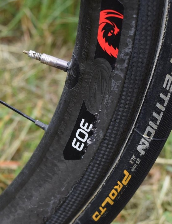 25mm Continental tubular tyres are paired with Zipp 303 wheels