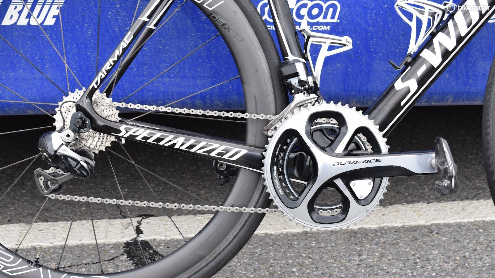 Jungels' bike is equipped with a Shimano Dura-Ace 9070 groupset