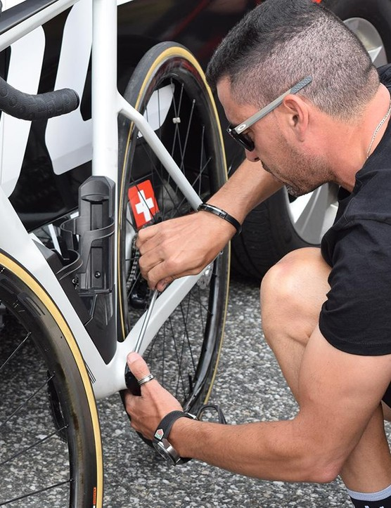 A BMC mechanic switched over cranksets ahead of a training ride ahead of the Tour de France