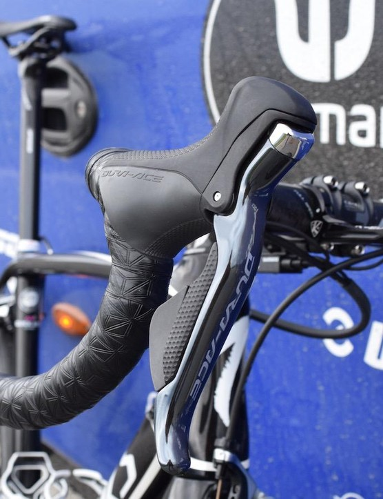 The Dura-Ace levers are paired with Supacaz handlebar tape