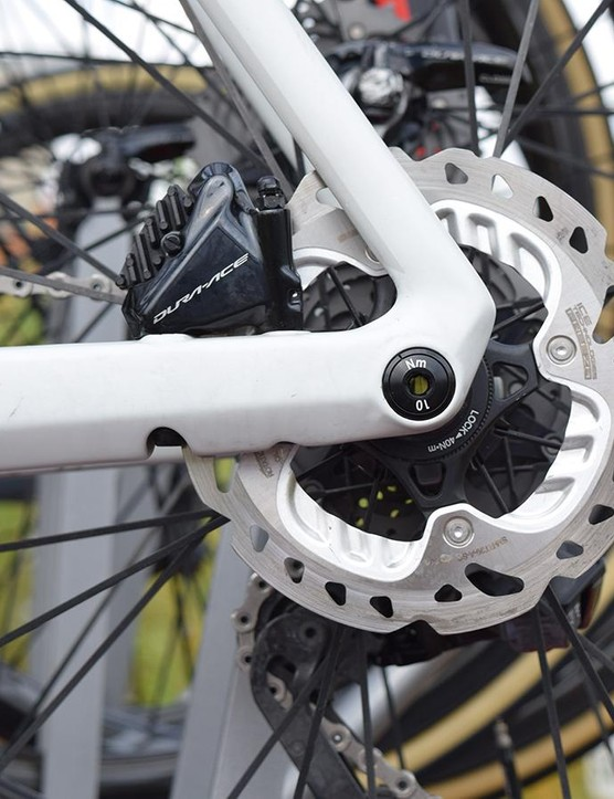 The BMC Timemachine Road 01 uses standard Shimano flat mount front and rear