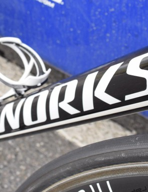 Bold decals on the Tarmac's down tube