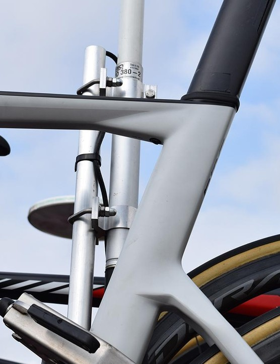 Angular lines at tube junctions characterise the aesthetics of the bike