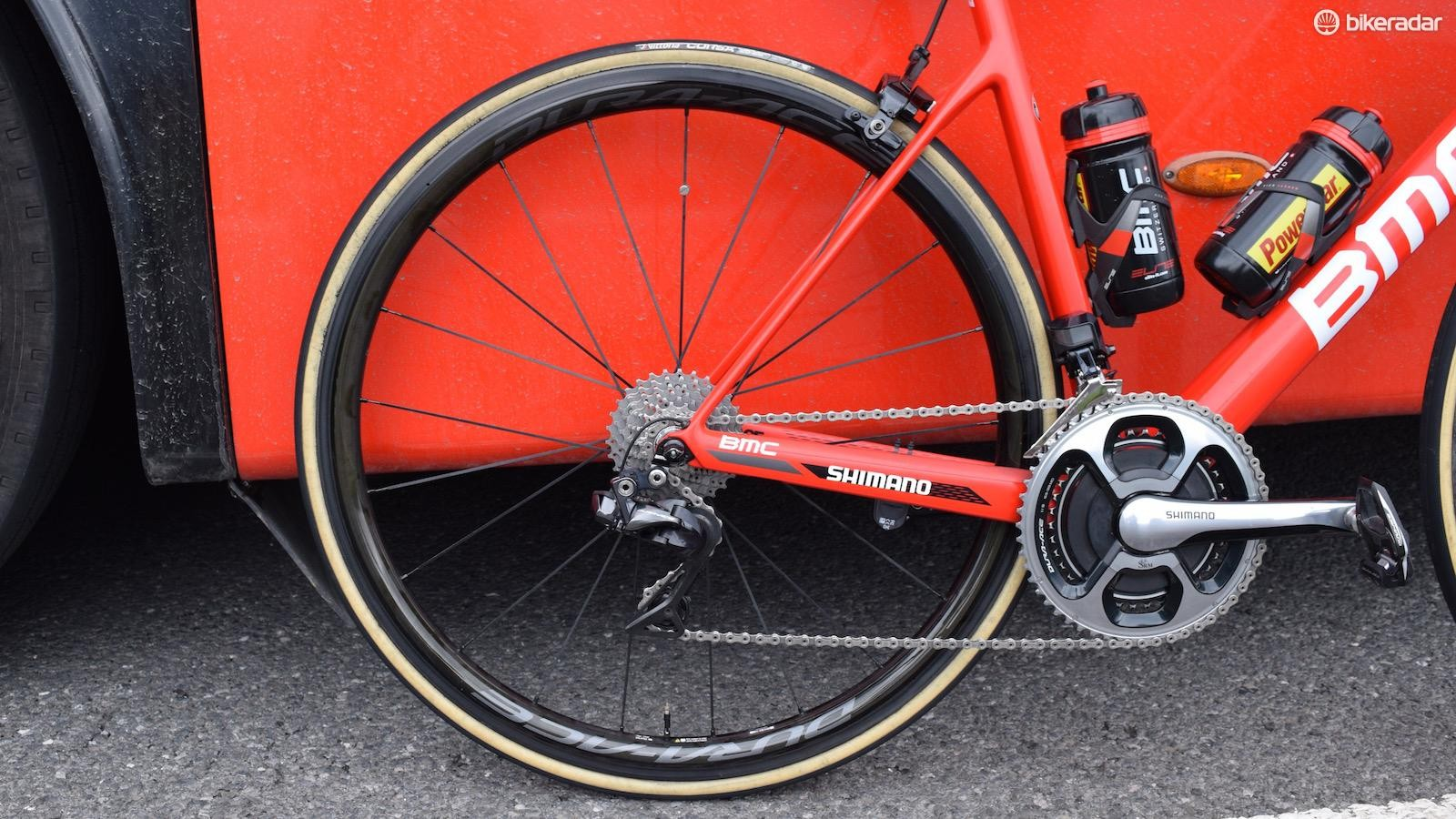 The entire BMC Racing team was running Dura-Ace 9100 series wheels