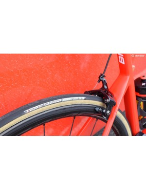 The 25mm Vittoria Corsa tubular gumwall tyres are popular in the WorldTour peloton