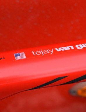Each BMC Racing team rider's name and nation feature on their bike's top tube