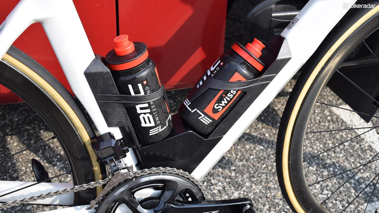 BMC say the bottle cage system is faster with bottles in than without
