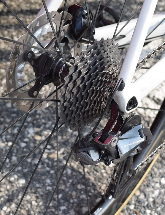 Thru-axles force the gear cable to come out of the seat stay above the 'drop out' area