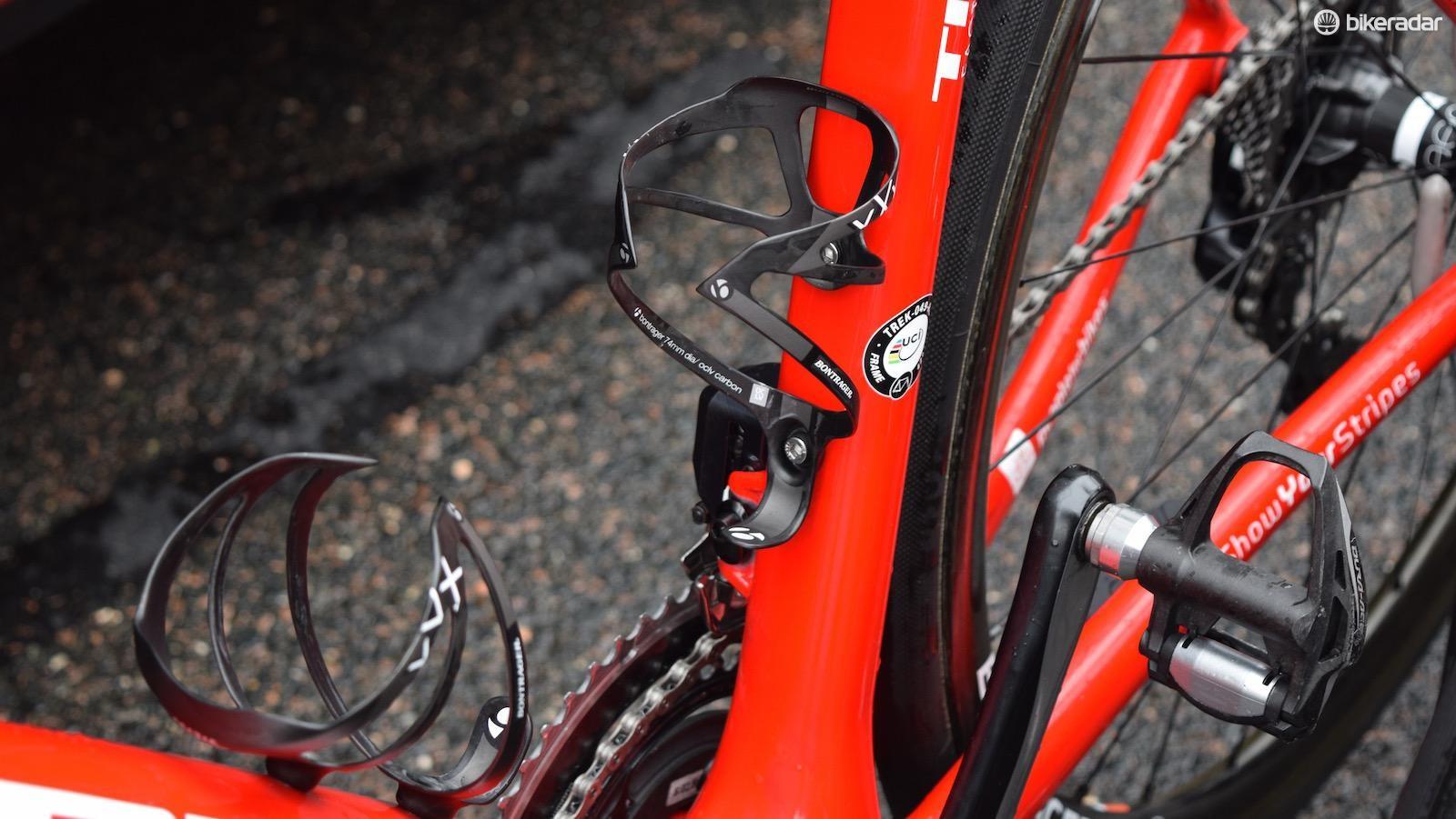 Bontrager XXX bottle cages alongside the UCI approved frame sticker