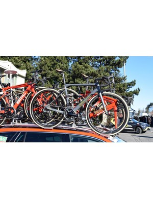 Van Avermaet appears to have two of the grey and gold bikes built up for racing