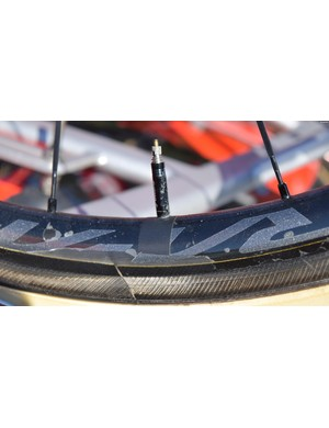 While Van Avermaet has a brand new frameset, it appeared his spare bike's wheels had already seen a fair amount of use