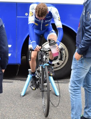 Dan Martin warms down on the bike following stage 1 of the race