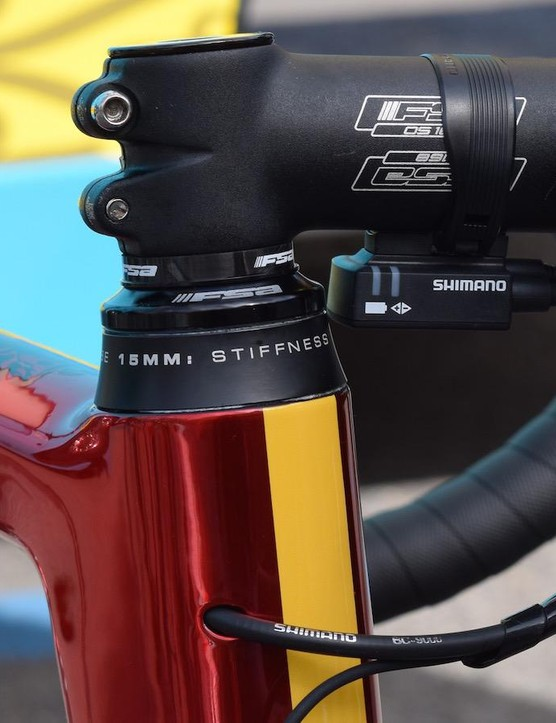 An alloy stem and 15mm of spacers for the Italian