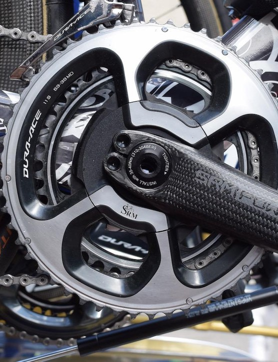 The majority of the Bahrain-Merida bikes are equipped with the latest SRM cranksets