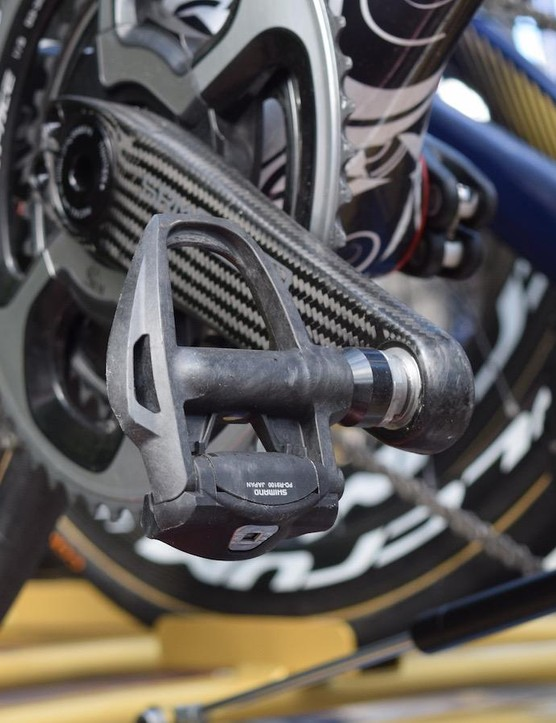 Colbrelli was equipped with Shimano Dura-Ace 9100 pedals