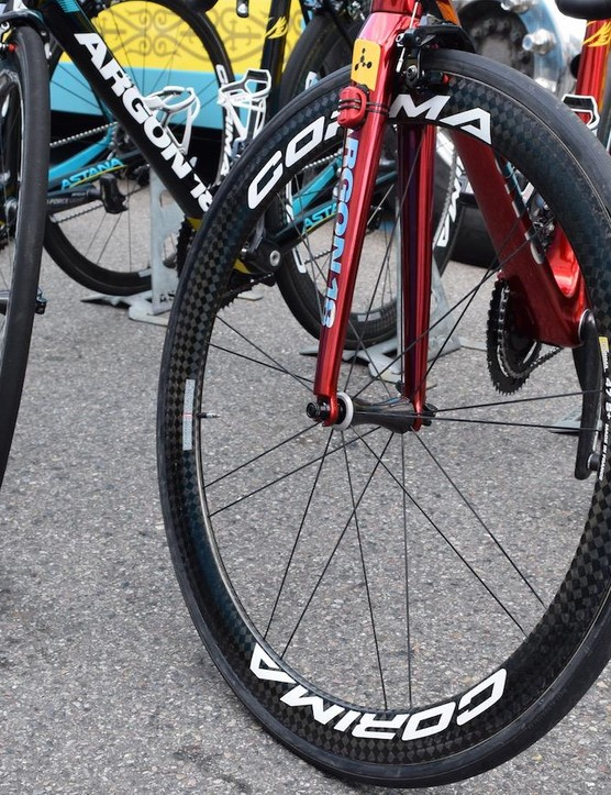 The custom paint work stands out among Aru's Astana teammates