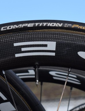 As with the vast majority of the peloton, Bahrain-Merida run 25mm Continental Competition tubular tyres
