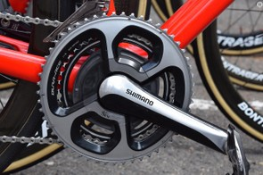 The crankset consists of 172.5mm cranks, 53/39t chainrings and an SRM power meter