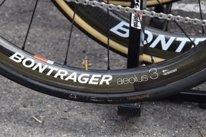 The Spaniard opts for Continental tyres with the labels blacked out with marker pen