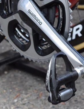 Contador was also running Shimano Dura-Ace 9000 series pedals