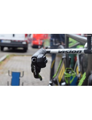 Phinney opts for TRP levers with Dura-Ace Di2 shifting buttons glued on