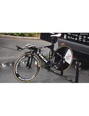 Fabio Felline's Trek Speed Concept with a Lightweight Autobahn rear wheel branded up with Bontrager stickers