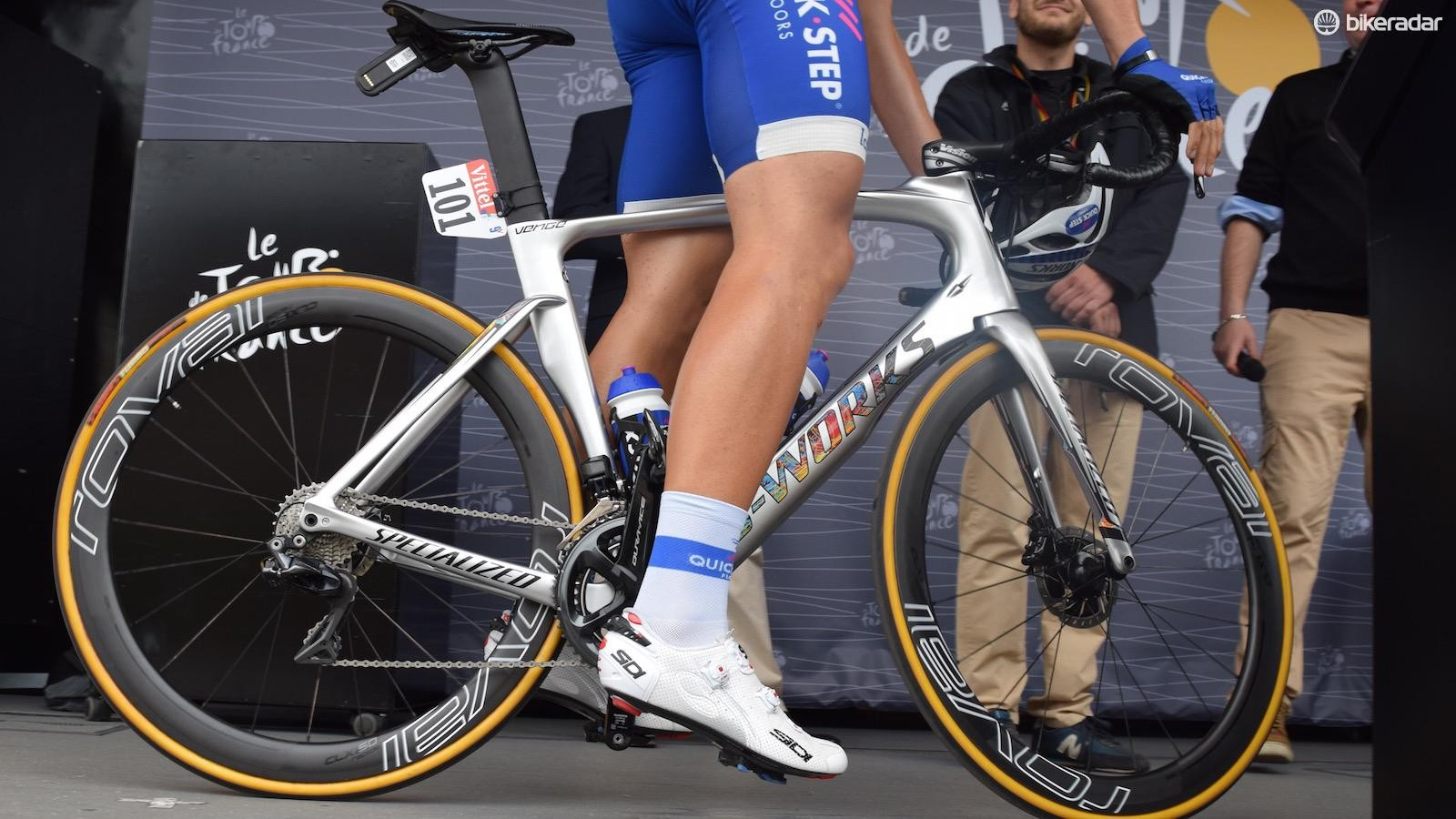 Marcel Kittel aboard his Venge Disc at the stage 2 sign on in Dusseldorf
