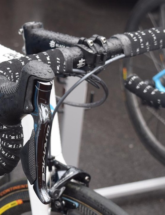 Bardet's shifting and braking controls are provided by Shimano Dura-Ace 9150 levers