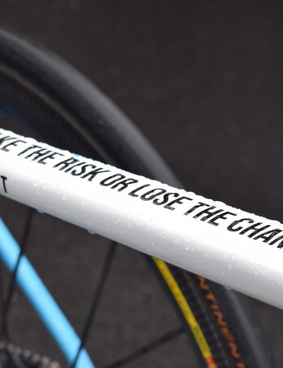 'Take the risk or lose the chance' adorns Bardet's top tube, a statement clearly associated with the Frenchman's style of racing