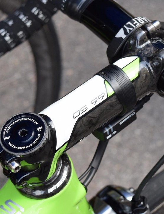 An FSA headset and stem at the front end of the bike