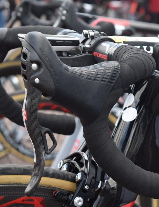 Unlike Shimano or SRAM, Campagnolo has thumb shifters in conjunction with the lever shifters