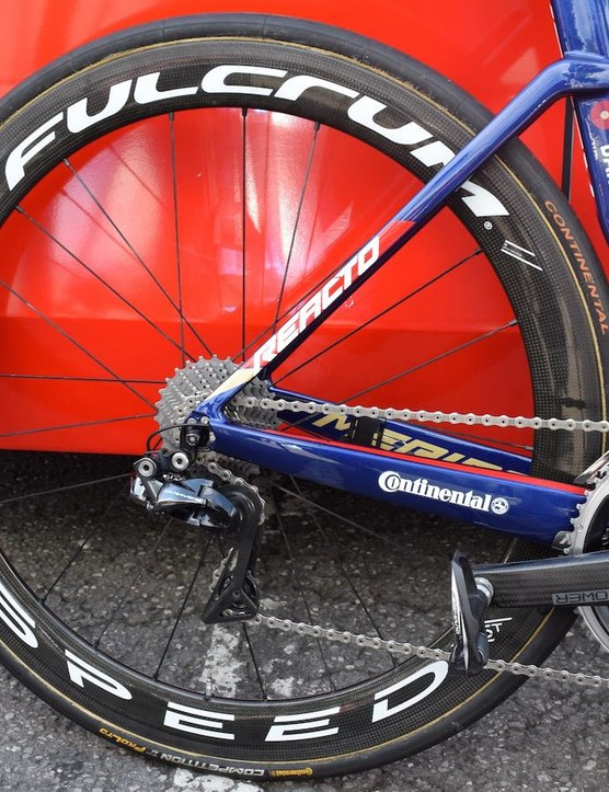 Colbrelli runs Fulcrum's Speed 55t wheels for the flatter stages of the Tour