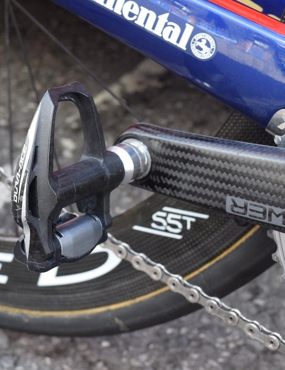 Most teams are still getting use out of their Dura-Ace 9000 pedals before they switch over to the latest 9100 series pedals