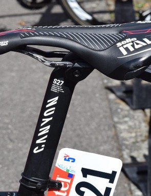 Canyon's S27 carbon seatpost is bladed to contribute to the frames aero properties
