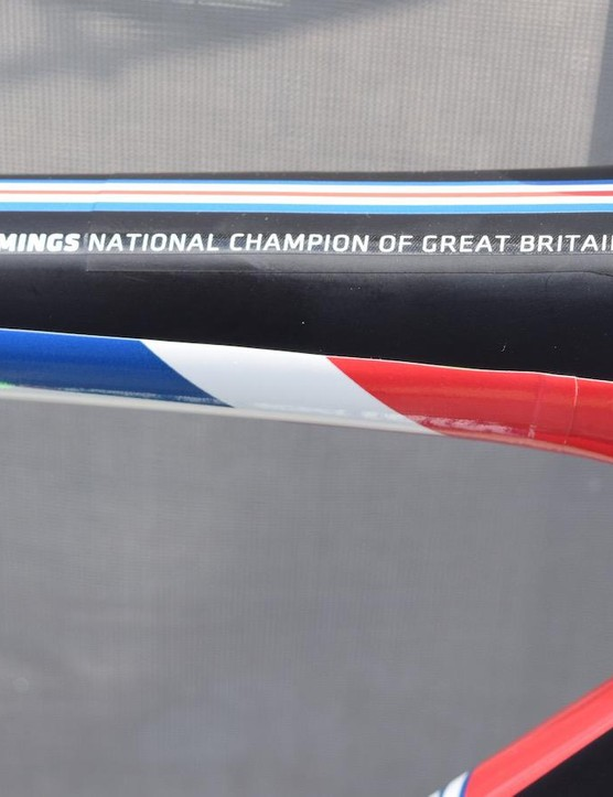 The Cervélo features the British colours on the inside of the stays and fork, and on the inside of the main triangle