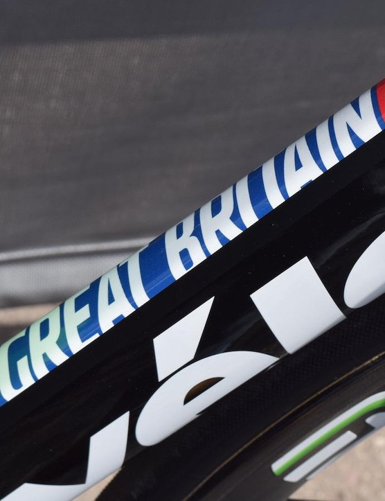 Great Britain is also prominent on the down tube