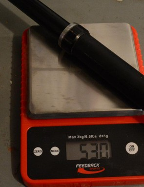 The Drop Line dropper post (no cable and remote) weighed 530 grams on my scale
