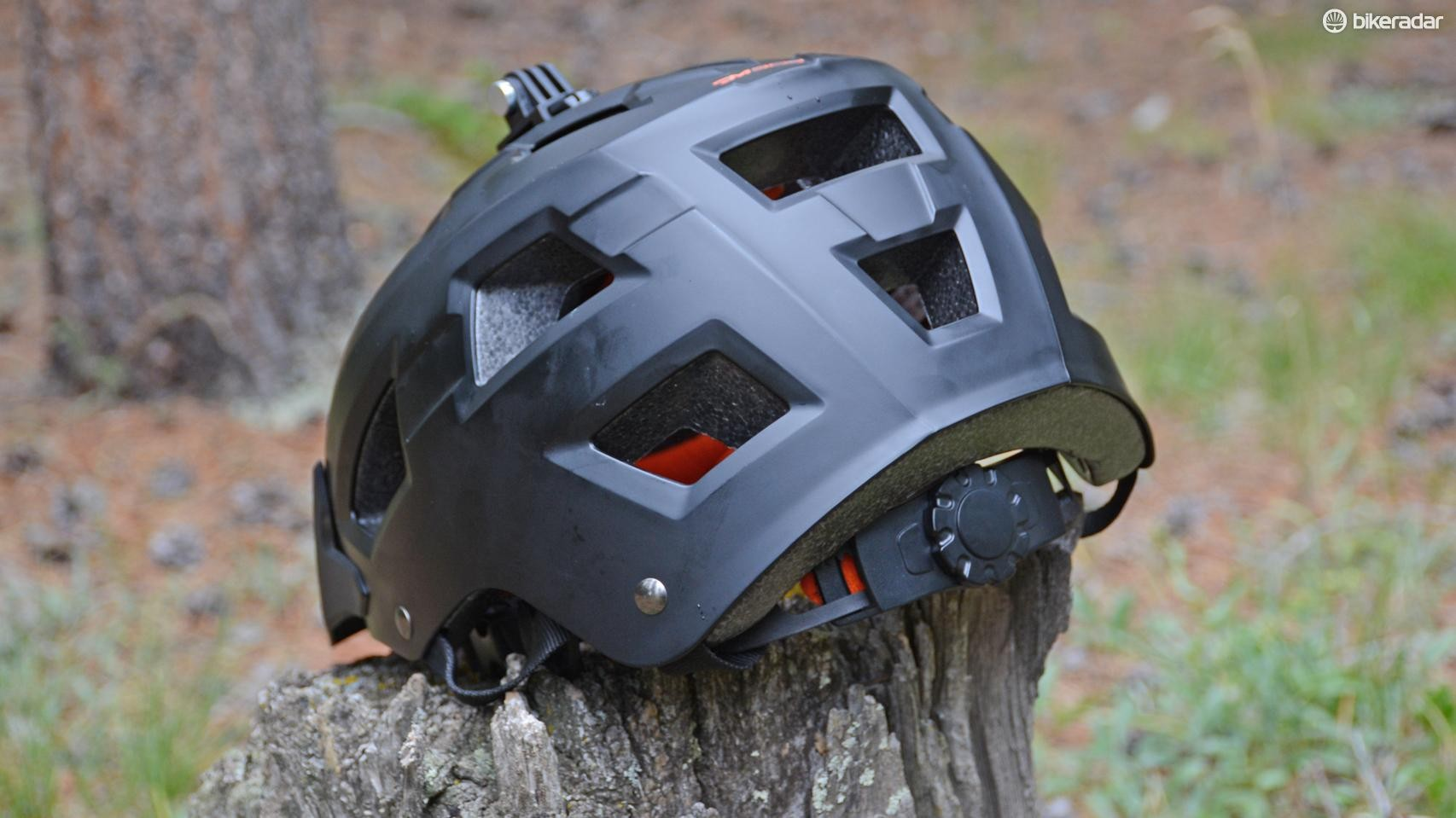 The rear of the helmet follows the extended protection trend